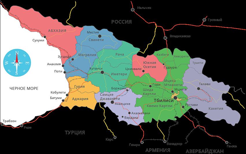 Карта регионов Грузии